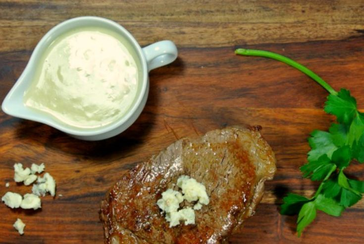 This Blue Cheese Steak Sauce is seriously delicious and pairs well with your favorite cut of beef.