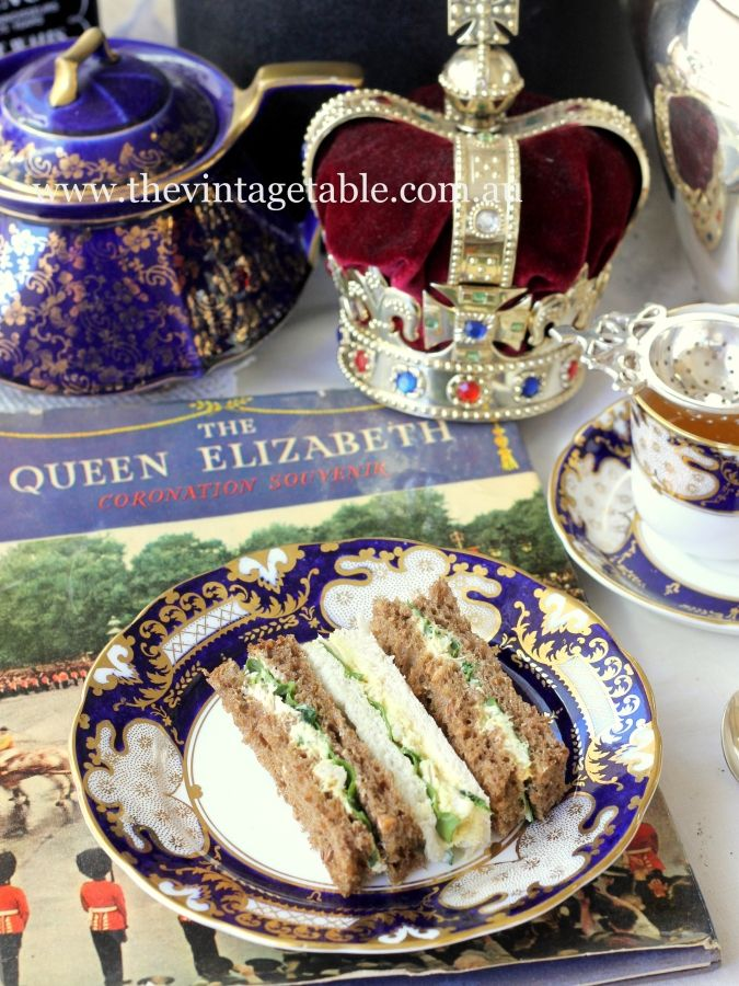 Our recipe for Coronation Chicken Tea Sandwiches for a Royal High Tea or vintage afternoon tea.