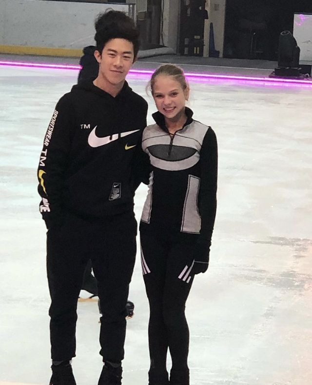 alexandra trusova with nathan chen   Фигурное катание