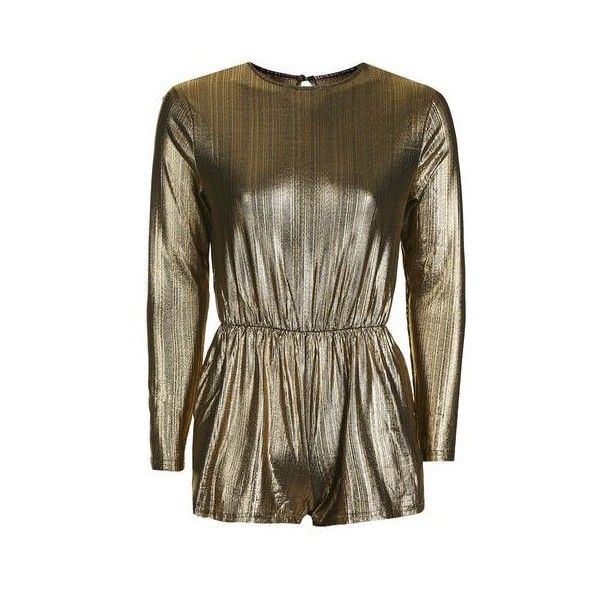 Lurex Gold Playsuit by Glamorous Petites (120 BRL) ❤ liked on Polyvore featuring jumpsuits, rompers, black, gold romper, topshop rompers, gold rompers, playsuit romper and long-sleeve romper