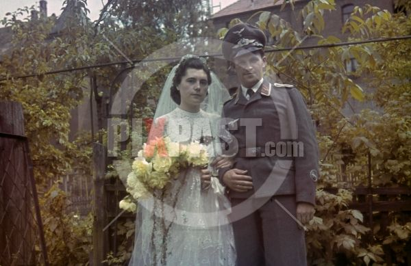 WW2 agfacolor color slide glass slide - Luftwaffe Signals Radio Operator War Time Wedding Berlin 1943, Bride in Wedding Dress, belt buckle, cap, hat,