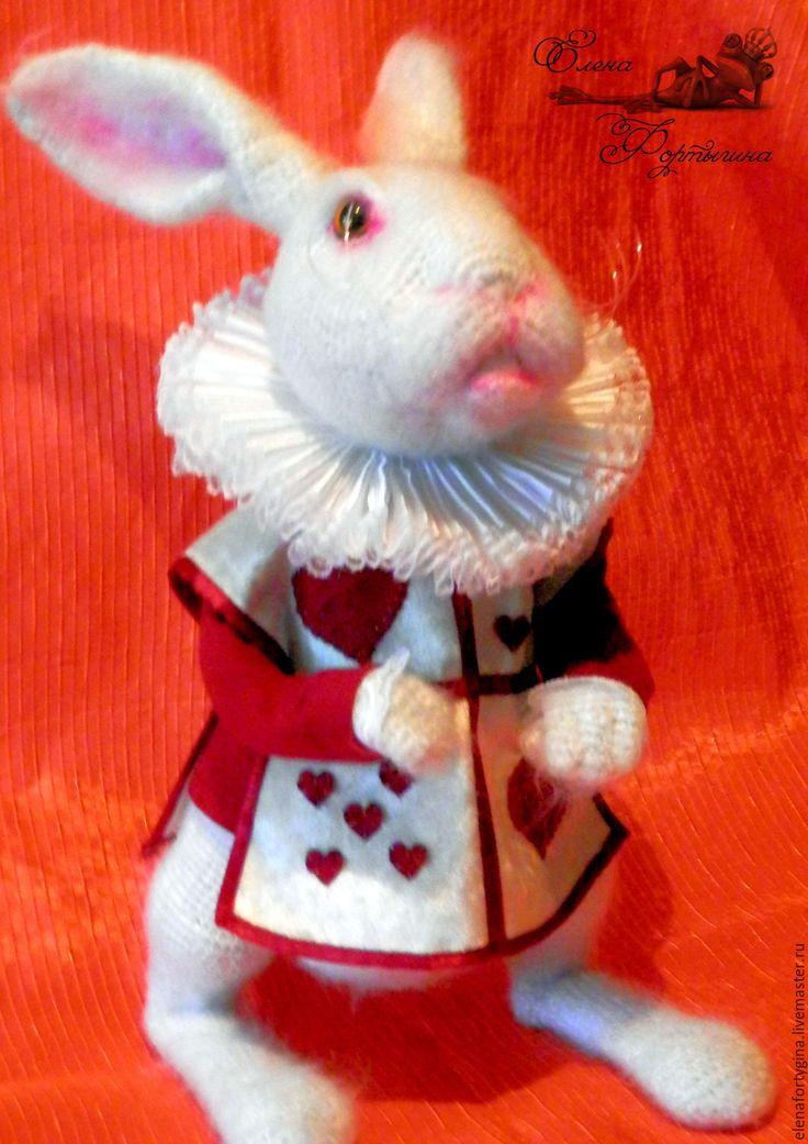 """Купить Вязаная игрушка """"Белый Кролик"""" - ярко-зелёный, ярмарка мастеров, тематические недели"""