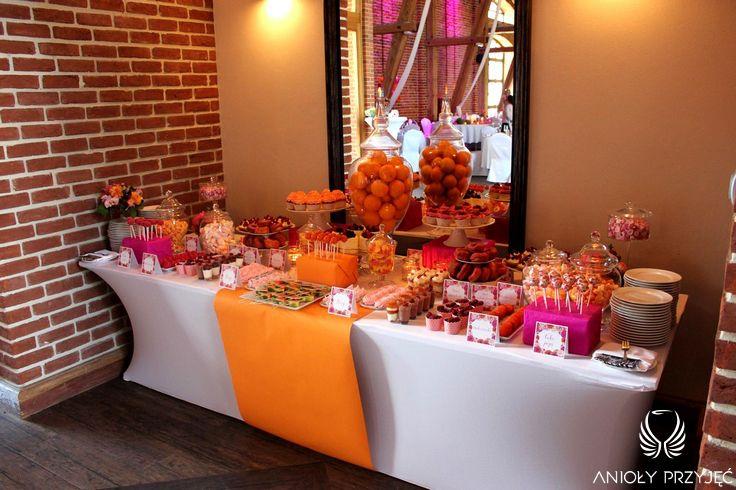 20. Fuchsia Orange Wedding,Sweet buffet,Sweet buffet decoration / Wesele fuksjowo-pomarańczowe,Słodki bufet, Dekoracje słodkiego bufetu,Anioły Przyjęć