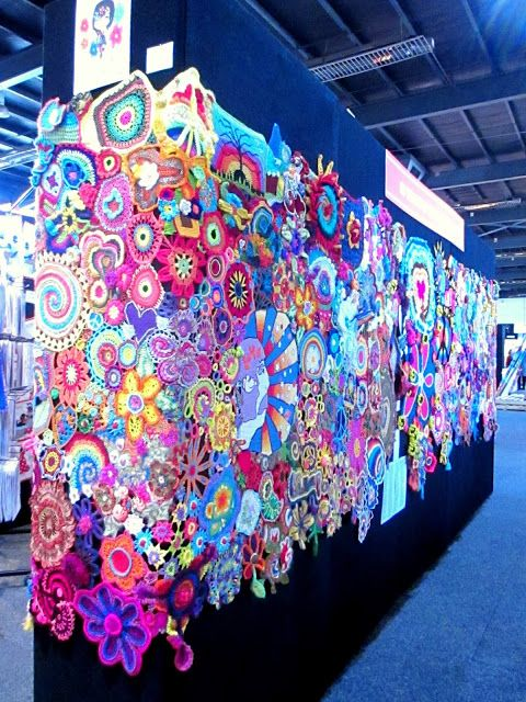 50 years of flower power - a freeform crochet and knit artwork: from our showing in Canberra