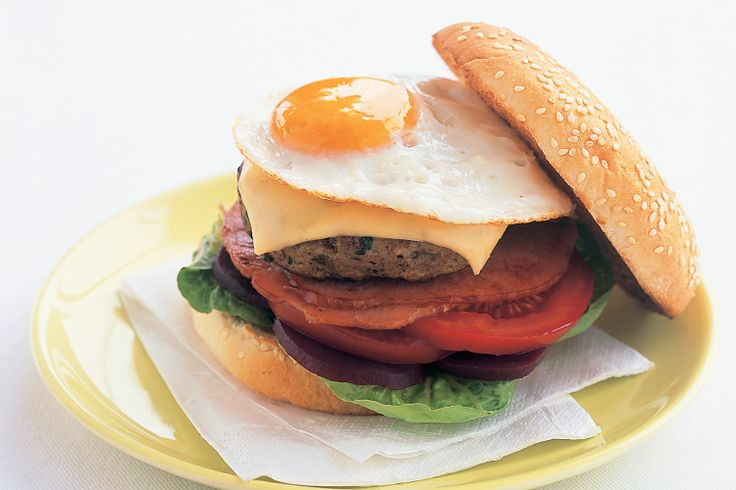 Aussie beef burger- Eggs, beetroot, bacon, cheese, tomato - when we say this burger has the lot, we mean it!