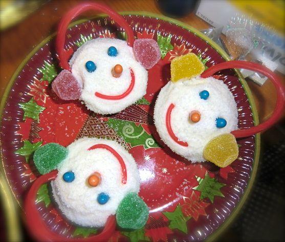 Cupcakes de muñecos de nieve