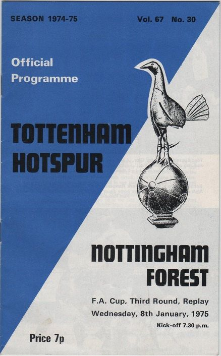 Vintage Football Programme - Tottenham Hotspur v Nottingham Forest, FA Cup 3rd round replay, 1974/75 season, by DakotabooVintage, £3.99