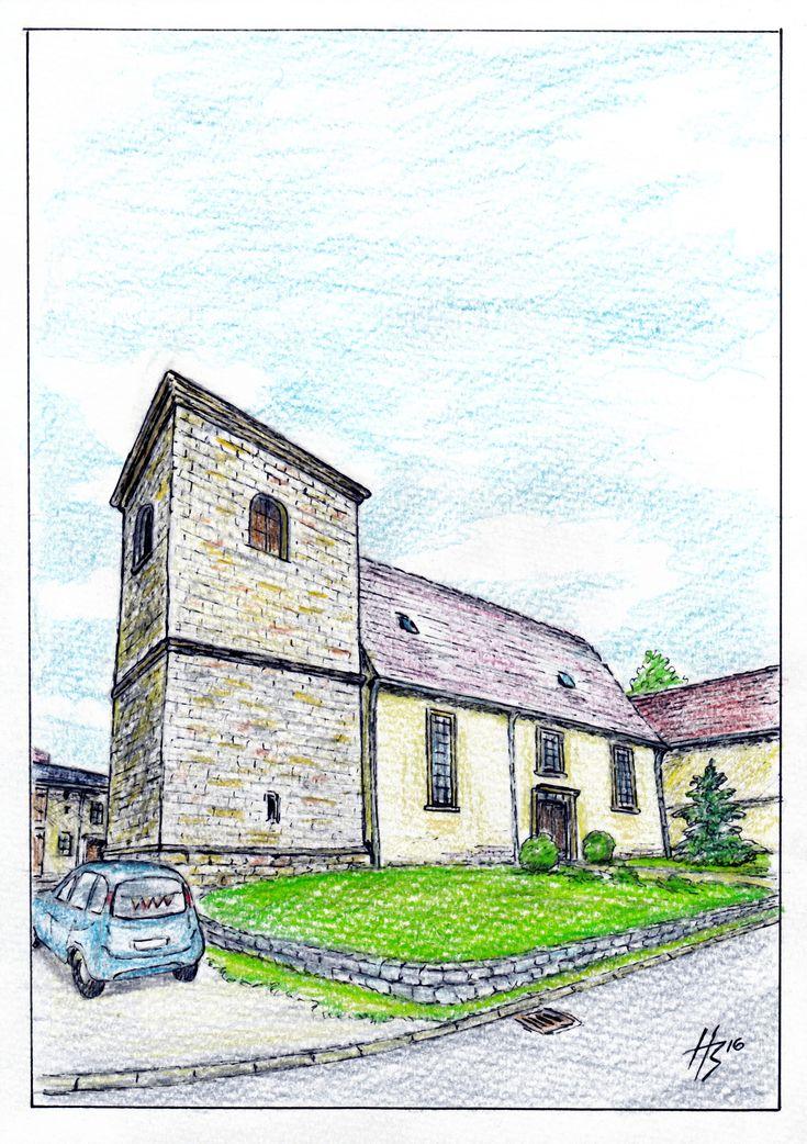 Kirche ohne Turmspitze (H.Bisovski) Buntstifte