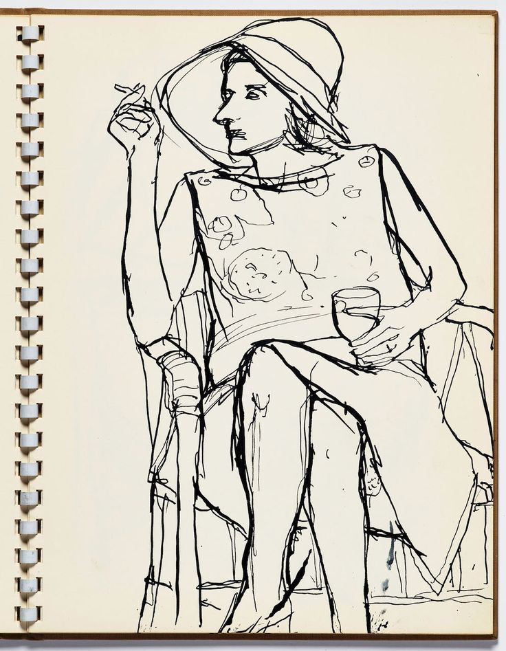 "Richard Diebenkorn, ""Untitled"" from Sketchbook #13, page 13 (1965–66), pen and ink on paper (gift of Phyllis Diebenkorn, © The Richard Diebenkorn Foundation)"