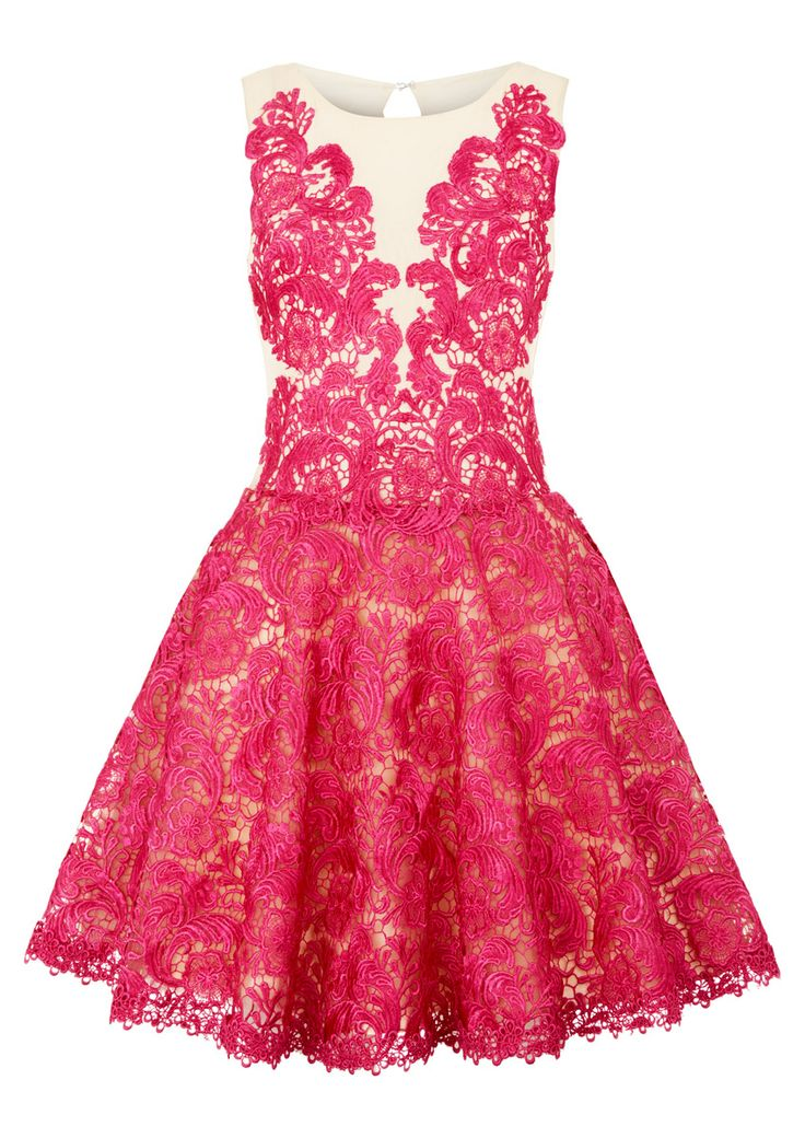 Formal or Bridesmaids Gown: Olive - Pink Applique Lace Skater Dress: This Fuchsia Pink skater dress comes in applique lace with Nude Pink mesh body and keyhole detail at the back. The Forever Unique dress has a zip fastening and is fully lined.