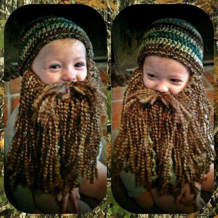 Child Knit Hat With Beard Pattern Xp