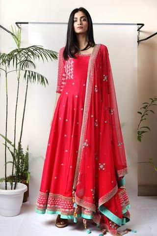 Red Embroidered Anarkali - waliajoness - 1Welcome Madsam Timzin now available…