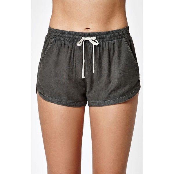 Billabong Road Trippin Dolphin Shorts ($19) ❤ liked on Polyvore featuring shorts, draw string shorts, drawstring shorts, dolphin hem shorts, billabong and elastic waist shorts
