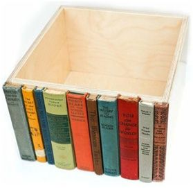 Take an ordinary box and transform into hidden storage. Good recycling of damaged books missing pages but cover still intact.