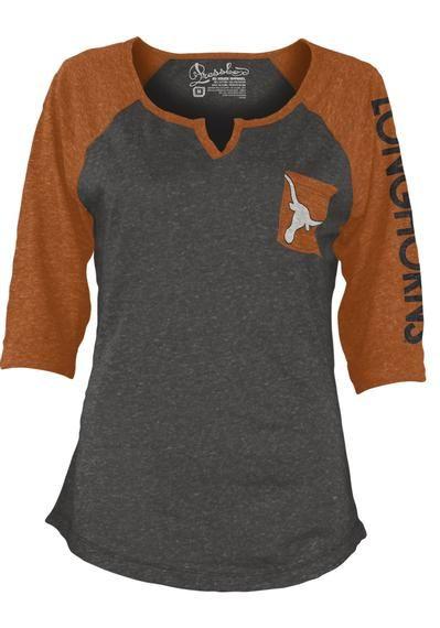 Texas Longhorns T-Shirt - Grey and Orange Longhorns Deja Fashion Long Sleeve Tee http://www.rallyhouse.com/ut-longhorns-womens-gray-orange-deja-fashion-long-sleeve-scoop-neck-22640294?utm_source=pinterest&utm_medium=social&utm_campaign=Pinterest-TexasLonghorns $29.99