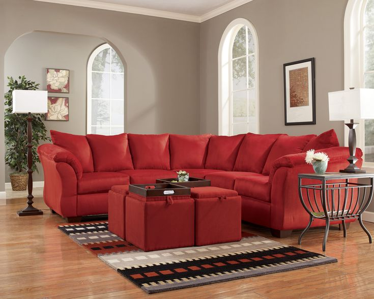Attractive Darcy Salsa Microfiber Red Sectional By Ashley Furniture Reviews . . . THIS  IS MY EXACT · Living Room ...