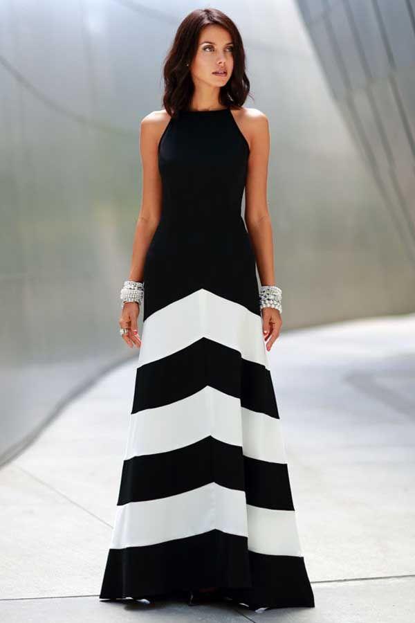 5ff336c8df Black White Chiffon Stripe Sleeveless Maxi Casual Dress