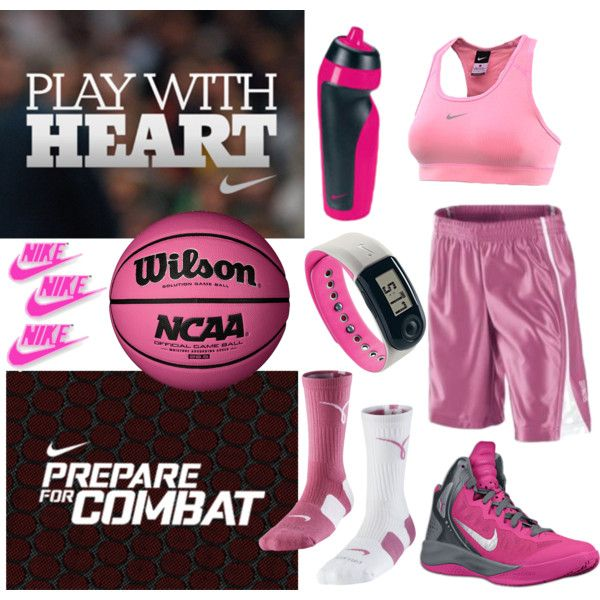Pink NIKE Basketball Outfitting:  Fashion sports bras, socks, shoes and more!