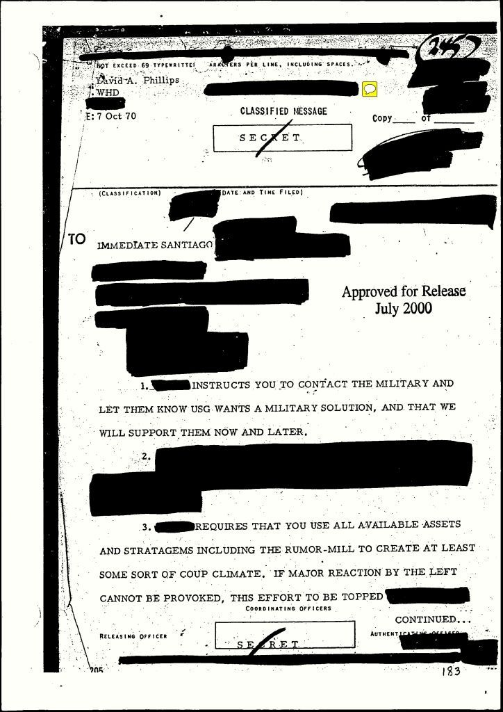 Super scandalous declassified secret document from the CIA instructing military action in Santiago. Lots more of these documents are available due to Wikileaks and the Freedom of Information Act, and their contents are indicative of US support, instruction and intent to end Allende's regime and install a favorable one