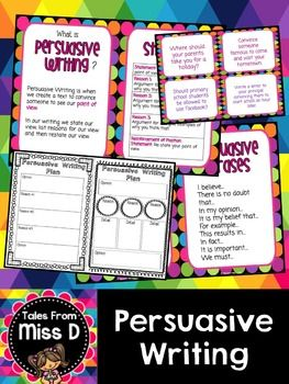 This pack will provide you with resources to teach persuasive writing to your class.Included in this pack;* What is Persuasive Writing? Poster* Structure - poster outlining what each paragraph contains* Sequencing Phrases Poster* Persuasive Phrases Poster* Example Text* Example Text Ordering Activity - put the example text in the correct order* 2 Graphic Organisers - For student planning* 24 Persuasive Writing PromptsRelated ProductsNarrative WritingInformation Report WritingRecount…