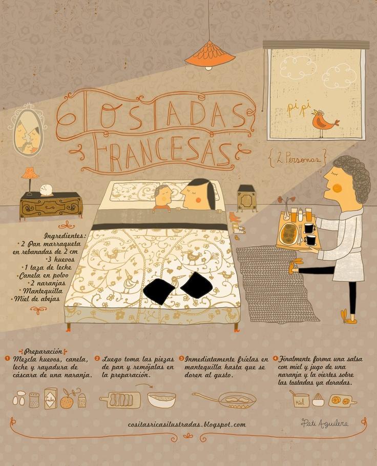 Tostadas francesas - Cositas ricas ilustradas por Pati Aguilera http://cositasricasilustradas.blogspot.com.es/