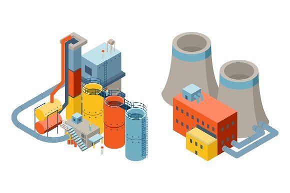 Industrial Factory 3d Buildings Industrial Factory Industrial Building Illustration