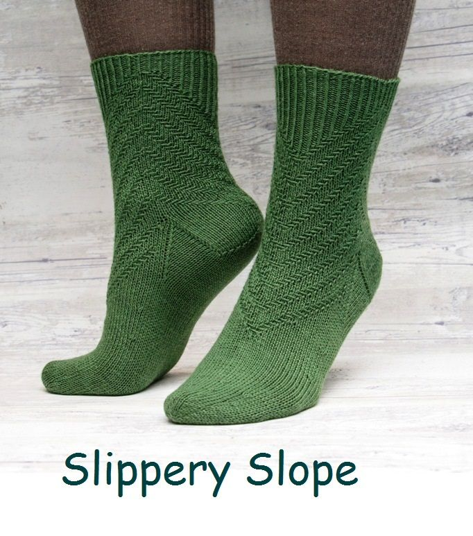 Slippery Slope. A sock design with a simple, yet effective slip stitch pattern.
