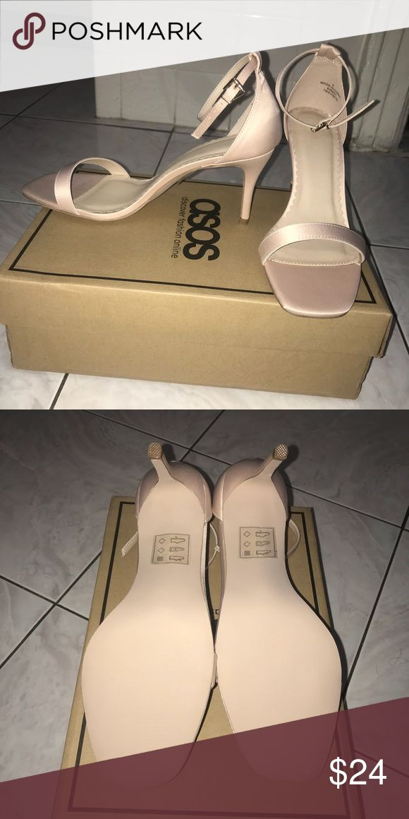 Nude heeled sandals Nude heeled sandals  Ankle strap Satin like finish  3 inch heel  Never been worn  Box included ASOS Shoes Heels