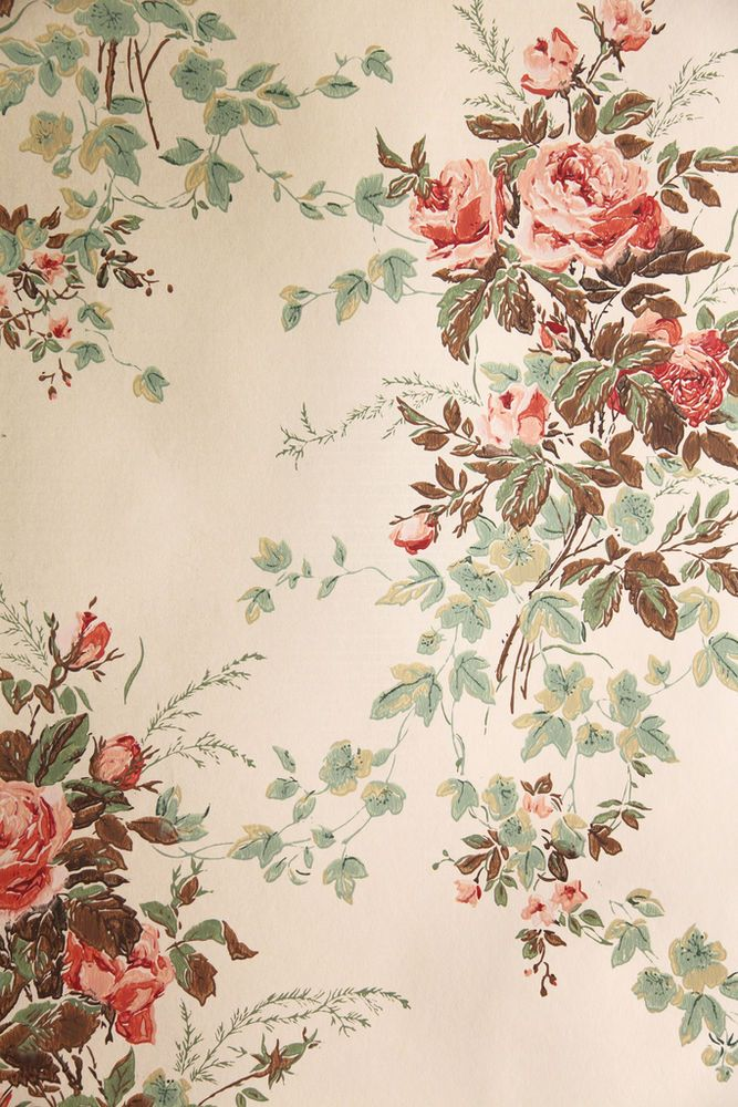 "Vintage Wallpaper - ""Summer Roses"" by Waterhouse Wallhangings/ebay /Wallpaper Afficianado"