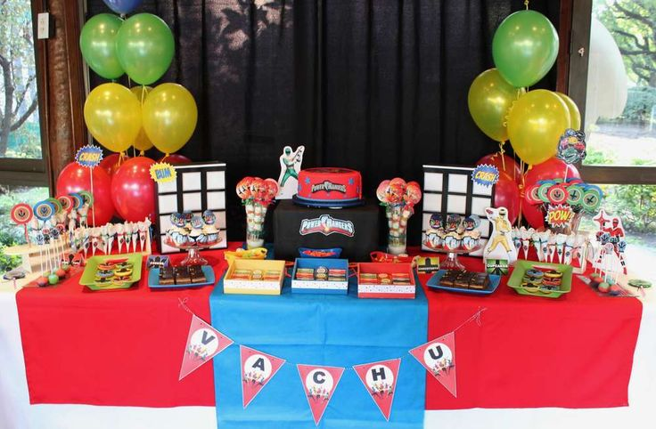 Power Rangers Birthday Party Ideas | Photo 6 of 10 Like the simple black with colored balloons on the side...