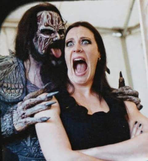 Floor Jansen (Nightwish) and Mr. Lordi (Lordi)