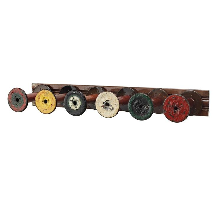 reclaimed textile spool coat rack robbie cook hanger