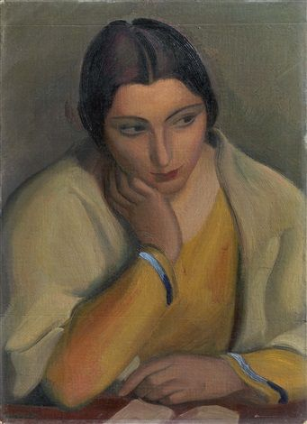 Mario Tozzi (Italy 1895–1979), Malinconia (Studio - Mezza figura), oil on canvas laid on panel 1925. Sold through auction.