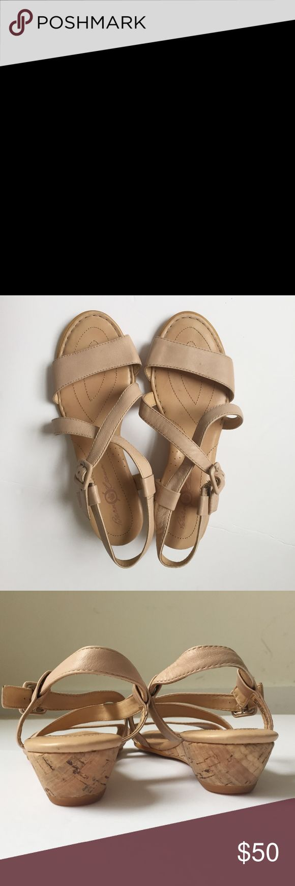 "NUDE STRAPPY born crown leather sandals shoe wedge CROWN BY BORN strappy sandals  minimalist. slimming. comfort, city walking. silent soles, cork heels with vintage appeal. $120  condition: excellent, minimal wear, see photos. no box. color: nude  material: butter soft leather size: US 7, 38  insoles length: 9.75"" arch width: 3.5"" heel height: 1.5"" Born Shoes Sandals"