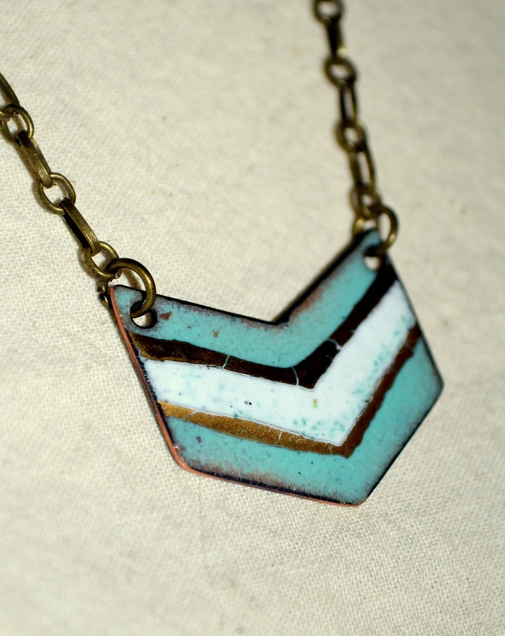 Chevron Boho Necklace: White, Turquoise, Gold.