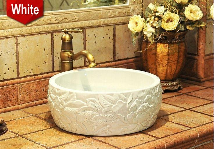 China Artistic Porcelain Handmade Embossed Ceramic Lavabo Bathroom Vessel…
