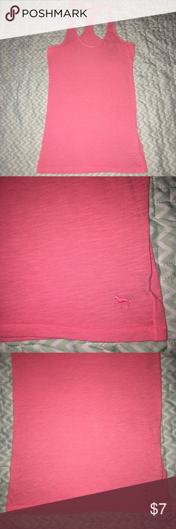 PINK Victoria's Secret Razorback Tank - XS *Flawed 25% off 7+ Items.  PRICE is negotiable, unless otherwise stated.   Details: FLAWED, has a stain line as pictured. Razorback tank top. Similar to Tee Shirt material. Could also fit Small.   COLOR: Peachy Pink  Size: Extra Small   Brand: Victoria's Secret PINK  Condition: Good to Fair Used   #CksOverload #ShopNow #Share #Follow #ISO #InstaShop #ForSale #NOTRADE  ••I do NOT TRADE••  Used items may contain piling &/or signs of wash and wear…