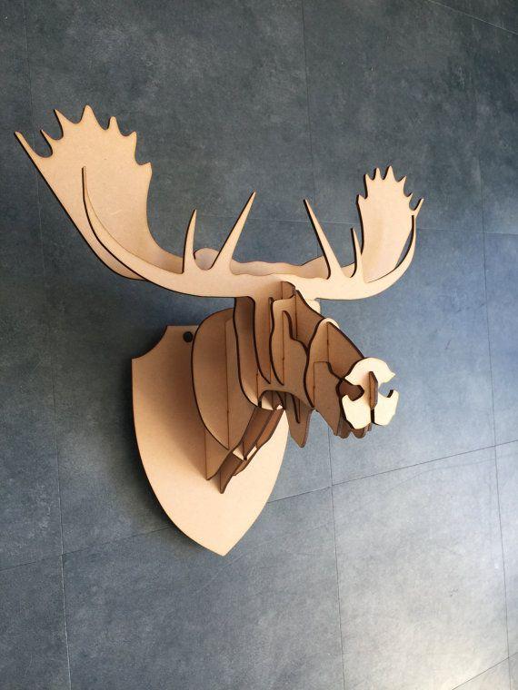 Stunning Gro e kleine h lzerne Moose Head Kit Wall Art Decor Laser geschnittene Elch Kopf