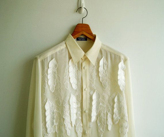 Vintage Ivory Heavenly Leaves Applique Sheer by sweetdecade, $32.00