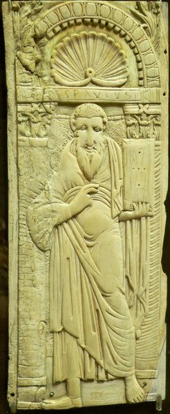 Saint Paul, Byzantine ivory relief, 6th – early 7th century imperial toga