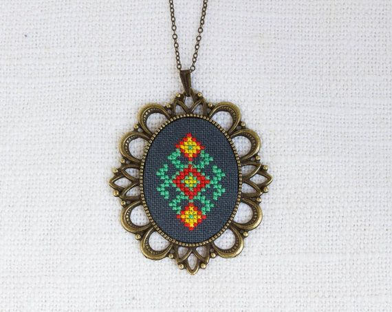 Ethnic necklace - hand embroidered - Ukrainian embroidery - made by Skrynka - n067