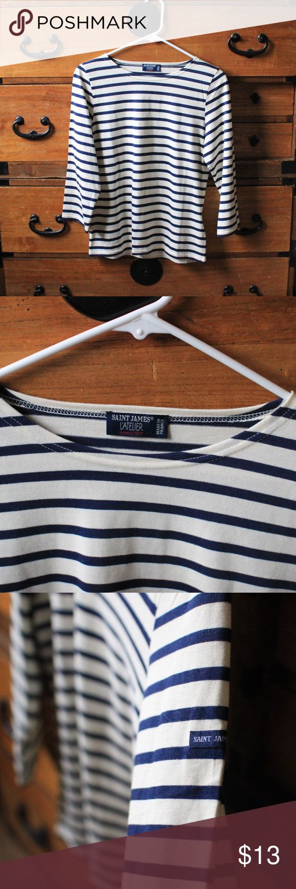 Saint James L'atelier Nautical 3/4 sleeve Top Saint James, 3/4 sleeve striped top, loose fitting, cream with navy stripes, never been worn, nothing wrong with it, wide neck Saint James Tops Tees - Short Sleeve