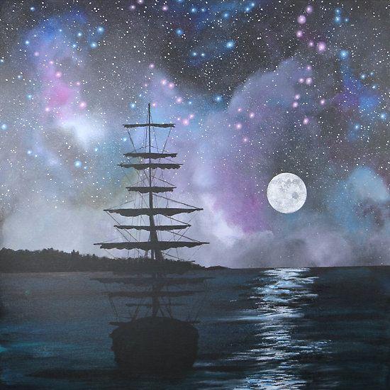 Neverland at Night 2 acrylic painting by Stephanie Miller www.stephaniemillerart.com galaxy, sky, moon, ocean, art, captain hook, island, sea, peter pan, art
