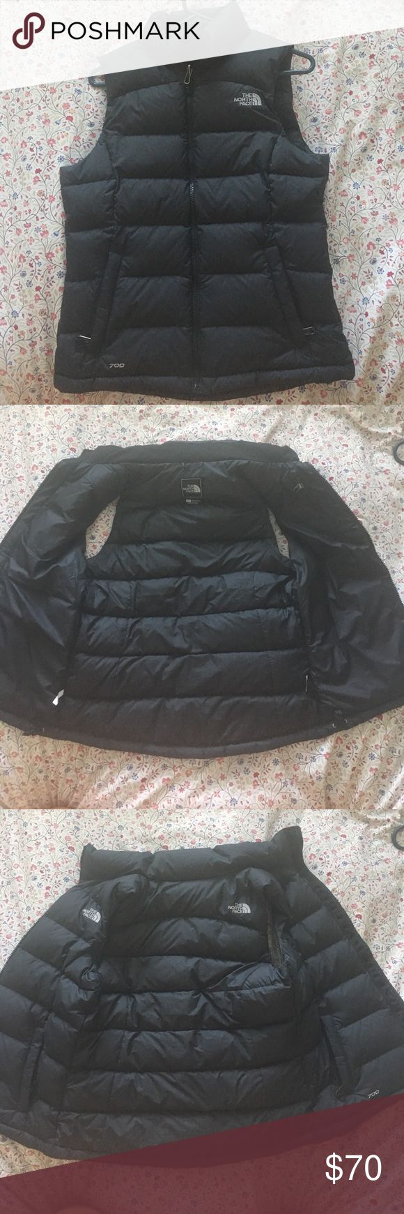 The North Face Nuptse Down Vest -Black Women's Very well kept condition North Face vest. No distinguishable spots and all the zippers work perfect! Super comfy and great for winter and fall! North Face Jackets & Coats Vests
