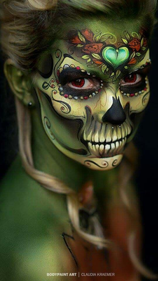 Beautiful fairy skull makeup. This would look rather cool as a partial skull piece with some large eyebrows that stick out like intertwined sticks and moss.