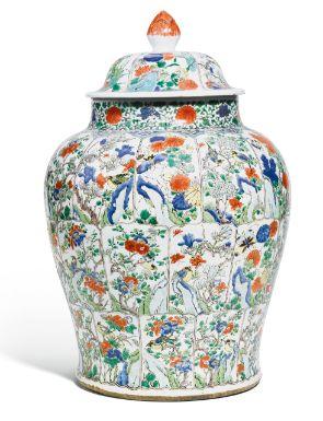 A FAMILLE-VERTE BALUSTER JAR AND COVER QING DYNASTY, KANGXI PERIOD - Sothebys