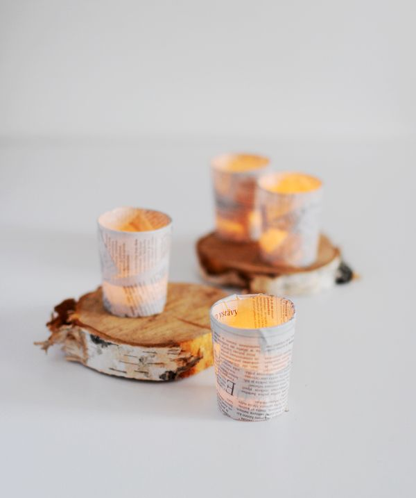 HEY LOOK: SIMPLE CHRISTMAS DIY IDEAS - NEWSPAPER VOTIVES