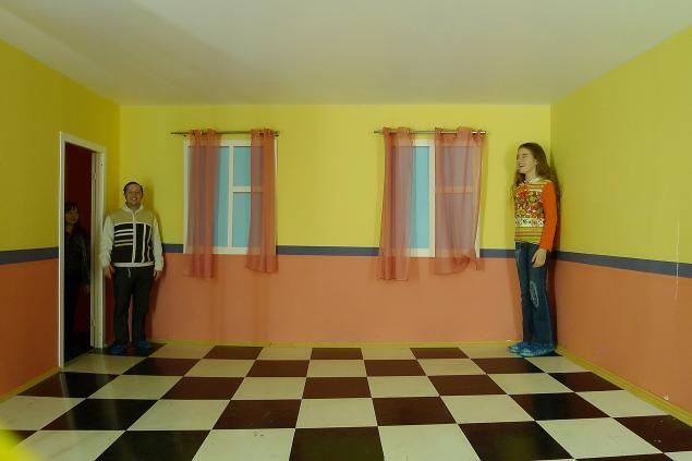 Комната Эймса была сконструированная художником и психологом Адельбертом Эймсом в 1946 году. Дальняя стена комнаты расположена не под прямым углом к боковым стенам, как это обычно бывает, а под очень острым углом к одной стене и, соответственно, под тупым углом к другой. Благодаря ложной перспективе, созданной в том числе узорами на стенах и полу (в данном случае - черно-белые клетки), наблюдатель воспринимает эту комнату прямоугольной.