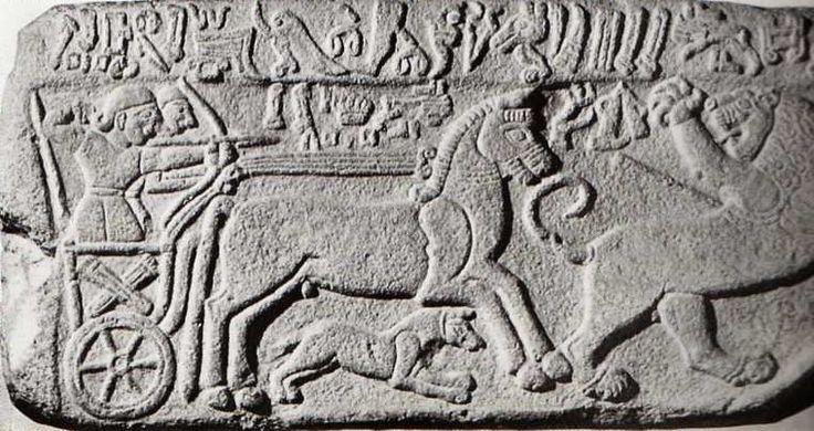 Hittite, relief deer hunting by cart, Malatya- Aslantepe 850-800 BC,Museum of Anatolian Civilisations, Ankara