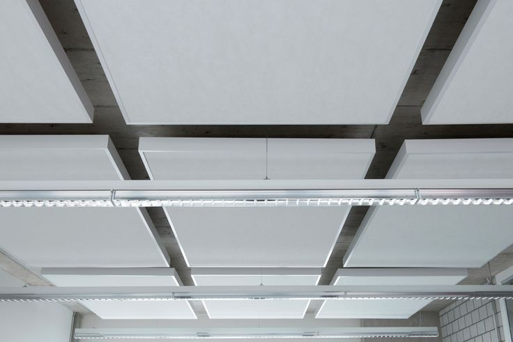 Acoustical ceiling by Hunter Douglas. Product: Techstyle Islands. Textile | Architecture | Solution